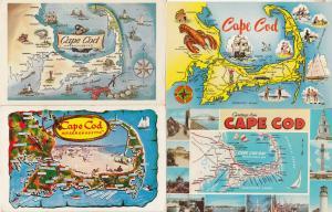 Cape Cod 4x Map Postcard s