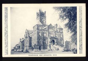 New Lexington, Ohio/OH Postcard, Courthouse, Old 1940's Cars