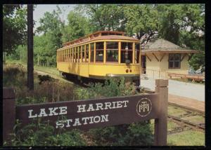 Minneapolis MN Street Car at Lake Harriet Line Station PC unused