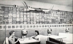 Redmond OR Brand Caf' Table Jukebox Horns on Wall Old Postcard