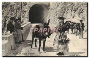 Menton -Route Nice - ane - Old Postcard donkey