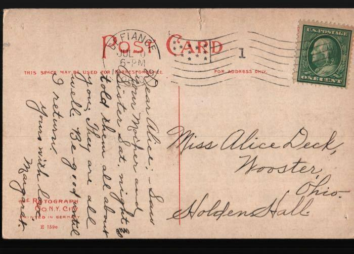 Defiance Wooster OH Holden Hall College Alice Deck Auglaize River Postcard B06