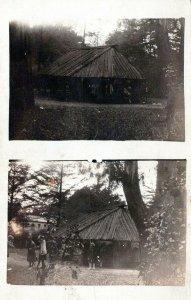 Wood Gazebo Outdoor Family Reunion Vintage Real Photo RPPC Post Card