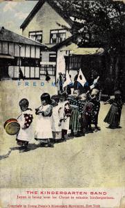1908 Japan Missionary Postcard: Kindergarten Band - Rare & Interesting