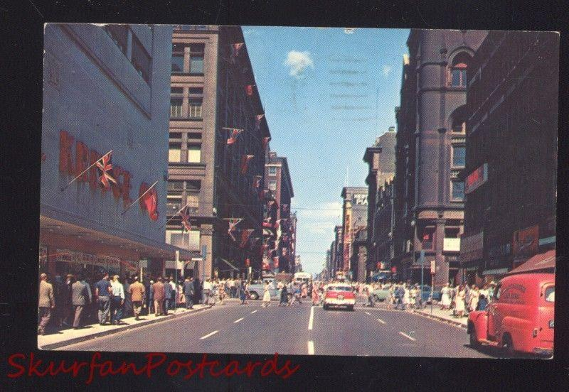 TORONTO ONTARIO CANADA DOWNTOWN STREET SCENE OLD CARS VINTAGE POSTCARD