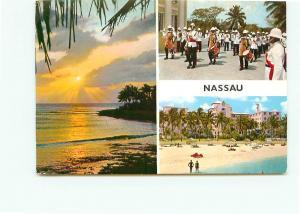 Postcard Nassau Bay Street Bahamas Hotels Marching Band Sunset   # 3911A