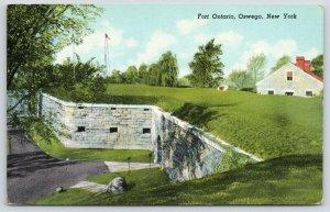Oswego New York~Fort Ontario~Wall & Boulder~Bunker~1952 Curt Teich Postcard