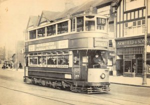 Postcard, 1936 No.18 Tram on London Road, Norbury reproduction 58Z