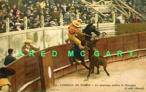 1912 Nice France PC: Bull Gores Horse, Picador Thrown From His Mount