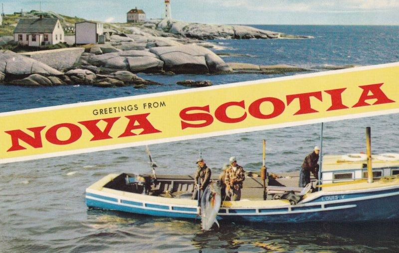 NOVA SCOTIA, Canada, 1950-1960s; Lighthouse, Fisherman