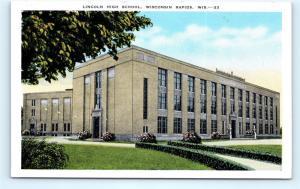 Postcard WI Wisconsin Rapids Lincoln High School Vintage Linen J10