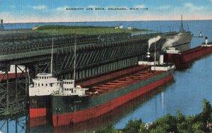 Postcard Mammoth Ore Dock Escanaba Michigan