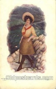 J. Tully Western Cowboy, Cowgirl 1907 minor corner wear with paint chips on c...