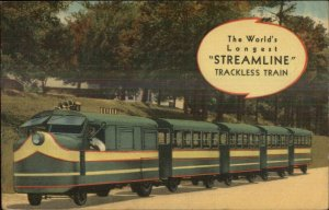 Longest Trackless Train Miniature RR Columbia SC SCARACE LINEN Postcard