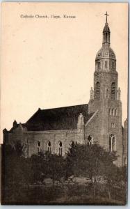 Hays, Kansas Postcard Catholic Church Building View Undivided Back UNUSED