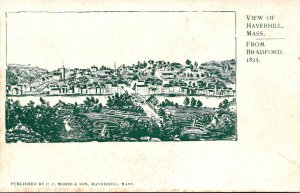 Massachusetts Haverhill View From Bradford Circa 1825