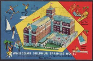 Whitcomb Sulpher Springs Hotel,St Joseph,MI Postcard BIN