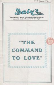 The Command To Love Yvonne Arnaud Ronald Squire Romance  Dalys Theatre Programme