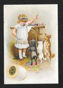 VICTORIAN TRADE CARD Coats' Thread Girl & Dogs