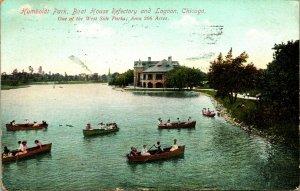 Vtg Postale 1910 Humboldt Park Bateau Maison Réfectoire Et Lagon Chicago Il
