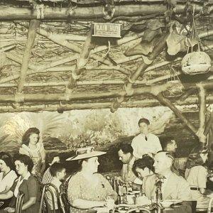 RPPC Aloha Clifton's Pacific Seas Rain Hut Tiki Los Angeles, California Postcard