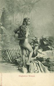 ceylon, Beautiful Native Nude Singhalese Woman with long Hair (1899) Postcard