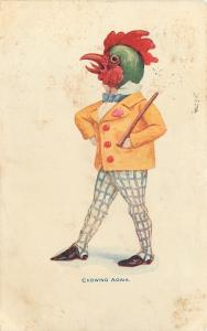 Fantasy Comic~Dandy Man With Rooster Head~Crowing Again~Checkered Pants