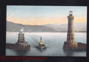 LINDAU I.B. GERMANY HAFSNEINFAHRT LIGHTHOUSE ANTIQUE VINTAGE POSTCARD