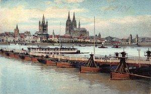 Koln am Rhein Totalansicht River Boats Cathedral Postcard