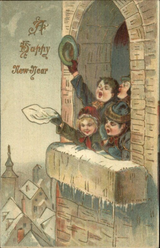 New Year - Children Wave From Church Tower c1910 Postcard