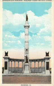 LP53   Richmond  Virginia Postcard Jefferson Davis Monument