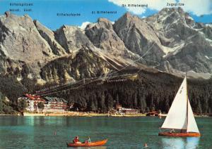 Garmisch Partenkirchen Eibsee Zugspitze Lake Boats Hotel Mountain Postcard