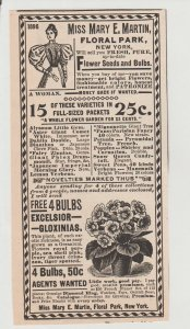 Miss Mary E Martin Flower Seeds & Bulbs 1896 Print Ad, Floral Park New York