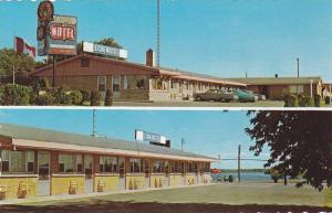 2-views, Lion Motel, on Lake St. Lawrence, Cornwall,  Ontario,  Canada,  40-60s