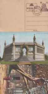Cawnpore Temple at Chat + Memorial Well Tiger 3x Antique India Indian Postcard s