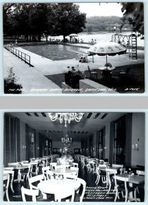 2 RPPC Postcards GREEN LAKE, WI Pool & Dining Room NORTHERN BAPTIST ASSEMBLY