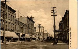 KENOSHA, WI Wisconsin   MAIN STREET Scene     c1910s    Postcard