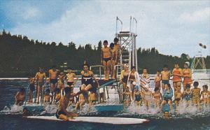 Swimming, Diving Board, The Beach of Cabano, Lake Temiscouata, Quebec, Canada...