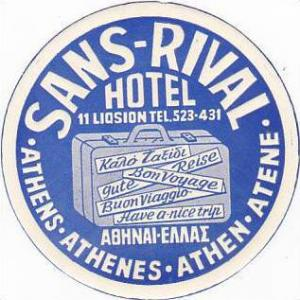 GREECE ATHENS SANS-RIVAL HOTEL VINTAGE LUGGAGE LABEL
