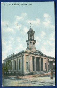 Nashville Tennessee tn St Mary's Cathedral old postcard