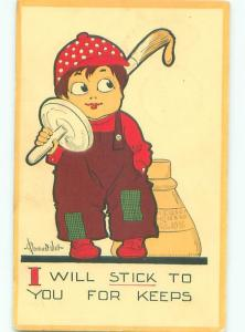 Pre-Linen Comic signed BOY WITH GLUE APPLICATOR AB8758