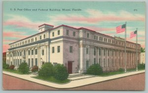 Miami Florida~US Post Office~Federal Building~American Flags~Vintage Postcard