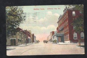 JEFFERSON CITY MISSOURI DOWNTOWN MADISON STREET SCENE VINTAGE POSTCARD