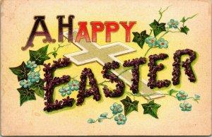 Vtg Linen Postcard Large Letter Greetings Embossed A Happy Easter UNP