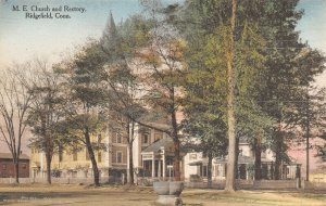 Ridgefield CT~Methodist Episcopal ME Church~Rectory~Horse Trough~1920s Handcolor