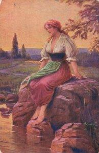 Artist Signed C.V. Muttich Verlassen Lady Sitting Vintage Postcard 06.65