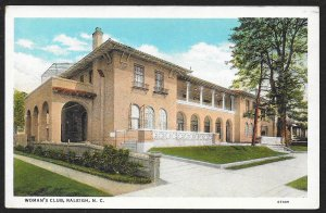 Womans Club Raleigh North Carolina Unused c1920s