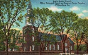 Williamsburg, VA, Bruton Parish Church, 1940 Linen Vintage Postcard g1827