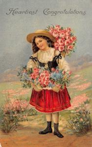 Victorian Congrats~Flower Girl~Dirndl~Red Skirt~Roses Forget-Me-Nots~Emb~Germany