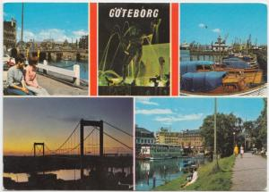 Goteborg, Sweden, multi view, 1974 used Postcard